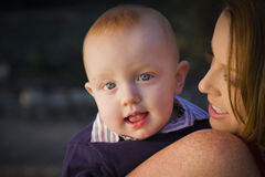 Cute Red Head Infant Boy Portrait with His Mother Stock Photography