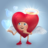 Cute red heart angel cartoon with bubbles Stock Photography