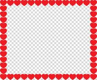 Cute red hearts border with space for text or image. Inside isolated on transparent background. Vector full-framed love valentines or wedding template, love vector illustration