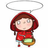 Cute red hooded girl and speaking Stock Images