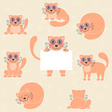 Cute red kitten set, funny cat with sign Royalty Free Stock Photography