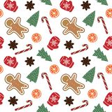 Cute red mittens with snowflakes glove green christmas tree candy cane gingerbread man orange cinnamon on a white background. Pattern seamless vector vector illustration