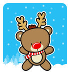 Cute red nose baby reindeer. On winter background Royalty Free Stock Photo