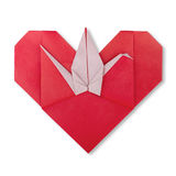 Cute red oeigami Japanese heart with paper crane Stock Image