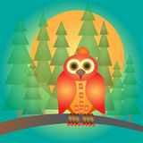 Cute red and orange cartoon owl character over gradient background Royalty Free Stock Photos