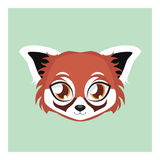 Cute red panda avatar with flat colors. Illustration of a cute red panda Royalty Free Stock Image