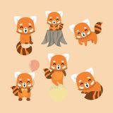 Cute red panda on pastel background. Vector Illustration