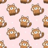Cute red panda Seamless Pattern Background stock illustration