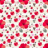 Cute red poppy flowers, pink primrose and little hearts on white  and light green striped background. Seamless print for fabric. Cute red poppy flowers, pink vector illustration