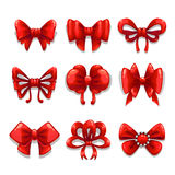 Cute red satin bows set,   elements Royalty Free Stock Photography