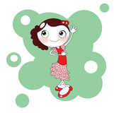 Cute red spanish flamenco dancer. Illustration about a cute panish girl with the typical red falmenco dance dress Stock Images