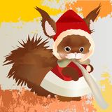 Cute red squirrel in winter coat and hat with fur on the grunge background Stock Images