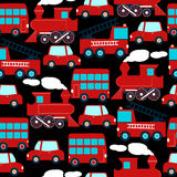 Cute red transport children in a seamless pattern Stock Photography