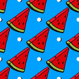 Cute red watermelon slice design on striped blue background, seamless, pattern, wallpaper. Background Royalty Free Stock Photography