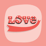 Cute red word LOVE and a ribbon emblem on pink background Royalty Free Stock Images