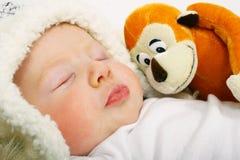 Cute redhead baby stock photo