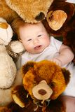 Cute redhead baby stock photography