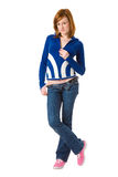 Cute Redhead in blue cardigan Stock Images