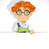 Cute redhead boy in glasses hold banner Stock Photos