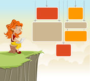 Cute redhead cartoon girl Royalty Free Stock Photography