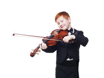 Cute redhead child boy plays violin isolated at white background Stock Images