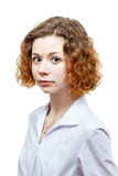 Cute redhead doctor in lab coat Royalty Free Stock Images