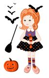 Cute redhead girl in halloween witch costume Stock Photography