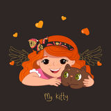Cute redhead girl and her kitty. Vector illustration Stock Images