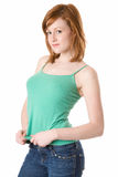 Cute Redhead in green tank top Royalty Free Stock Photo