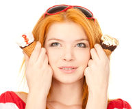 Cute redhead with ice cream Stock Photography
