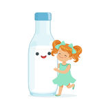 Cute redhead little girl and funny milk bottle with smiling human face playing and having fun, healthy childrens food. Cartoon characters vector Illustration on Royalty Free Stock Photo