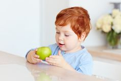 Cute redhead toddler baby eating tasty green apple. Cute redhead toddler baby boy eating tasty green apple stock photos