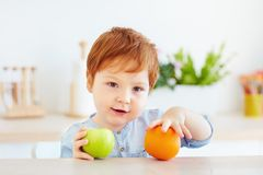 Cute redhead toddler baby holding fresh apple and orange fruits. Cute redhead toddler baby boy holding fresh apple and orange fruits stock image
