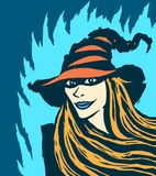 Cute redhead witch. Vector illustration. Stock Images
