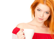 Cute Redhead With White Cup Stock Image