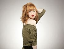 Cute redhead woman. Ideal background Stock Photography