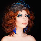Cute Redhead Woman with Makeup and Red Hair Royalty Free Stock Photo