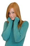 Cute redhead woman portrait. Woman with red hair isolated on white Royalty Free Stock Photography