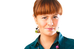 Cute Redhead woman portrait. Happy young woman smiling with friendly look Stock Photos