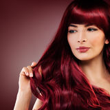Cute Redhead Woman with Red Hairstyle. Girl with Redhead Curly Stock Photos
