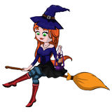 Cute redheaded witch flying on a broom isolated on a white backg. Isolated illustration of a cute witch on a broom with a lantern in his hand Royalty Free Stock Photos