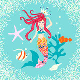 Cute reef card with mermaid Stock Image