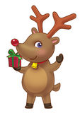 Cute Rein Deer. Holding a present Stock Photography