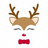 Cute reindeer. Baby deer. Merry Christmas cartoon character. Boy with bow tie. Cute reindeer. Baby deer. Merry Christmas cartoon character. Boy with bow tie stock illustration
