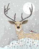 Cute reindeer and bird c. Hristmas night background Royalty Free Stock Photo