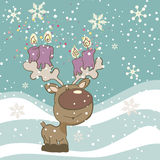 Cute Reindeer with Candles. Winter Card with Cute Reindeer with Candles Royalty Free Stock Photos