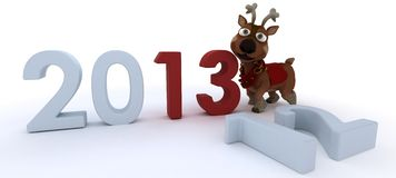 Cute reindeer charicature bringing in the new year Royalty Free Stock Images