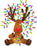 Cute reindeer with Christmas lights. Scalable vectorial image representing a cute reindeer with Christmas lights,  on white Royalty Free Stock Photography