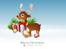 Cute reindeer for Christmas and New Year celebration. Cute reindeer with glossy ornaments on winter background for Merry Christmas and Happy New Year Stock Images