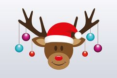 Cute reindeer with christmas tree balls and santa hat stock illustration